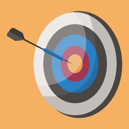 A Arrow shooting board in round shape vector color drawing or illustration.