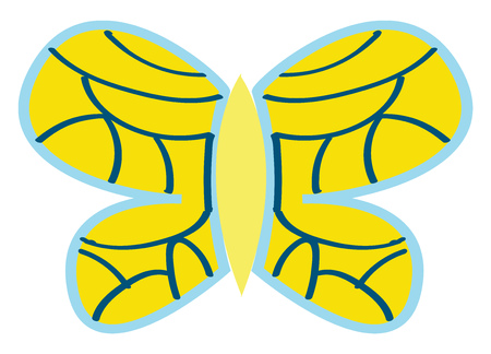 Yellow butterfly with blue ornaments vector illustration on white background. Illustration