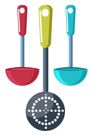 Two cooking pans and a cutter with handles vector color drawing or illustration.