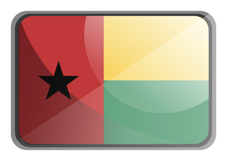 Vector illustration of Guinea Bissau flag on white background.