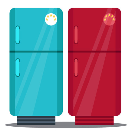 Two refrigerators with five star rating one in blue and other in red colors vector color drawing or illustration.