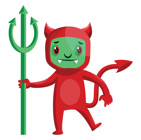 Cartoon red devil with green face and trident vector illustration on white background.
