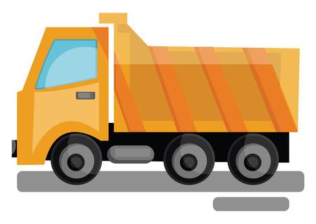 Cartoon yellow transporting truck vector illustration on white background. Illusztráció