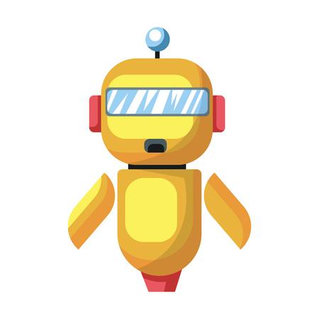 Yellow cartoon robot vector illustration on white background. Illustration