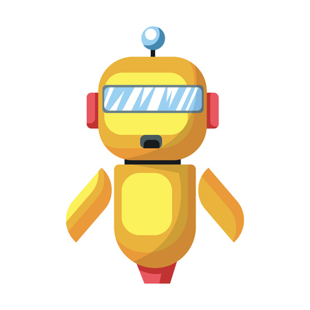 Yellow cartoon robot vector illustration on white background. Archivio Fotografico - 120987312