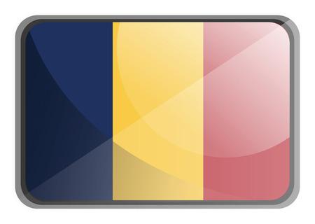 Vector illustration of Chad flag on white background. Vektoros illusztráció