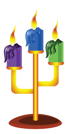 Vector illustration of purple blue and green candles in golden candelstick on white background.
