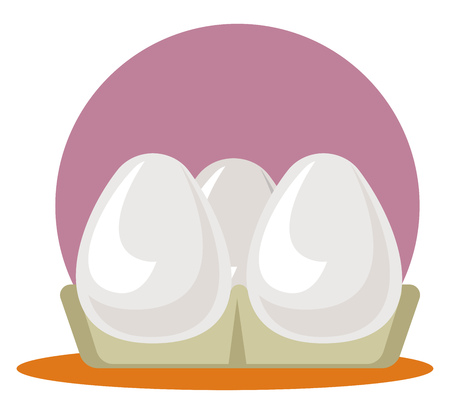 A Egg Tray with three eggs in purple background, vector, color drawing or illustration.