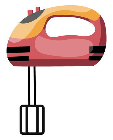 An electronic Hand blender with red handle vector color drawing or illustration.