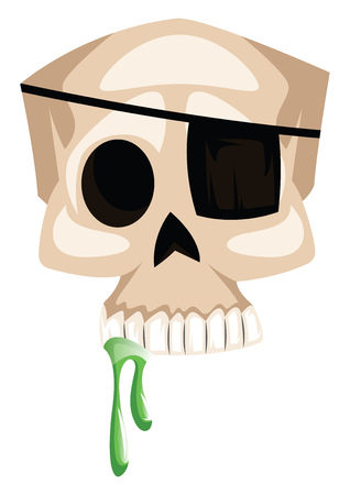 White scull with eye patch vector illustration on white background.
