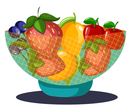 A Fruit Bowl filled with fruits- grapes strawberries mangoes cherries and kiwi fruits vector color drawing or illustration. 向量圖像