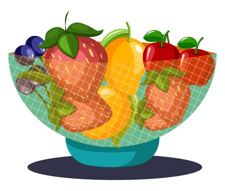 Een fruitschaal gevuld met fruit-druiven aardbeien mango's kersen en kiwi's vector kleur tekening of illustratie. Vector Illustratie