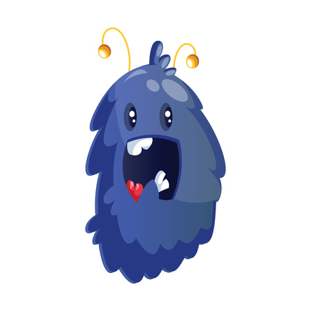 Happy blue furry cartoon monster on white background vector illustration.