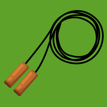 A Skipping rope with handles for jumping and exercise vector color drawing or illustration.
