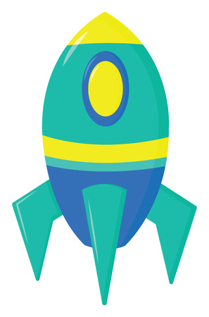 A blue, yellow and green colored rocket, vector, color drawing or illustration.
