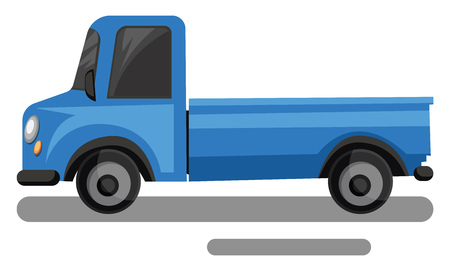 Blue truck cartoon style vector illustration on white background.