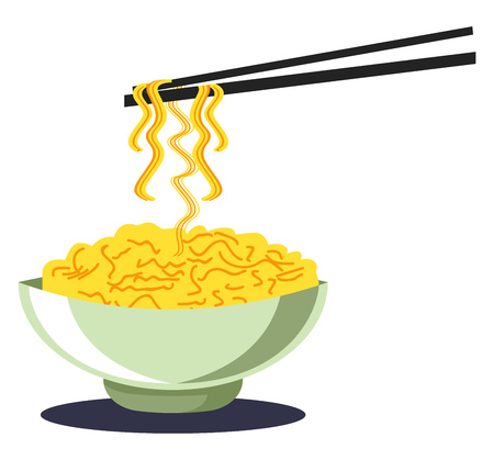 Noodles in a bowl with chopsticks noodles in yellow color vector color drawing or illustration.