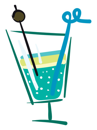 A blue and green cocktail in a green transparent glass with a blue straw, vector, color drawing or illustration.