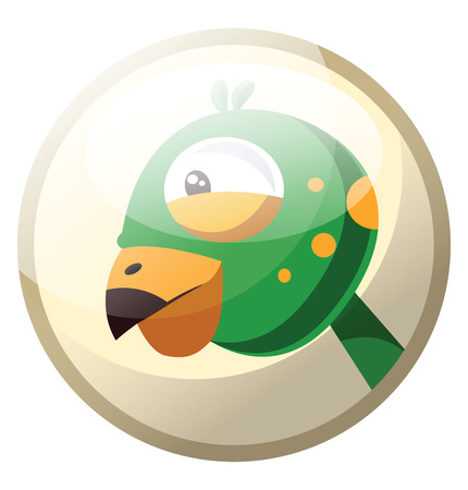 Cartoon character of a greeen bird head with yellow dotts vector illustration in grey light circle on white background.