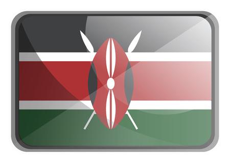 Vector illustration of Kenya flag on white background.