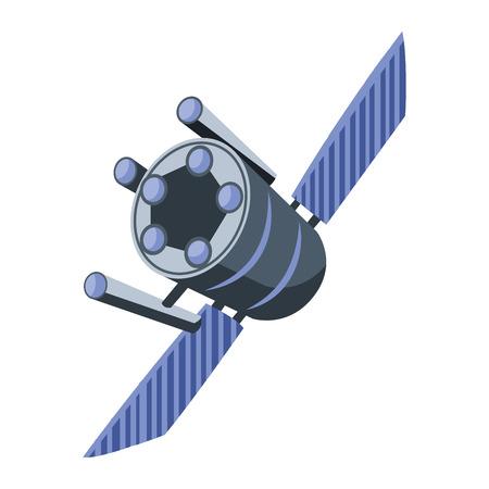 Blue satellite vector illustration on white background