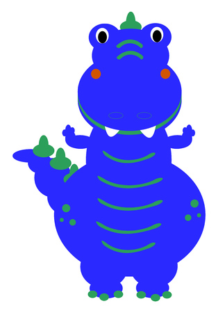 A Dinosaur in blue color with green design vector color drawing or illustration.