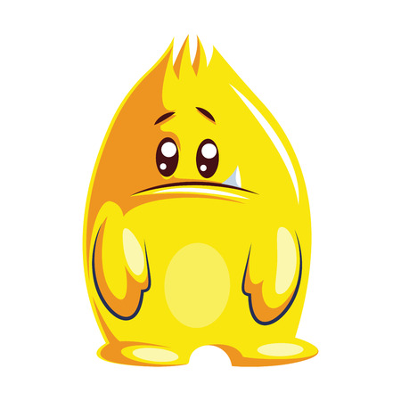 Sad yellow cartoon monster on white background vector illustration.