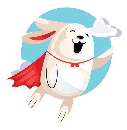 Superhero easter bunny flying in clouds illustration web vector on white background Illustration
