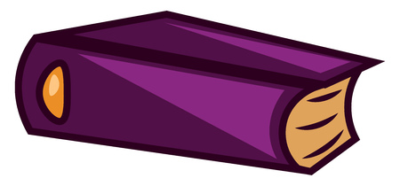 A purple colored book, vector, color drawing or illustration.