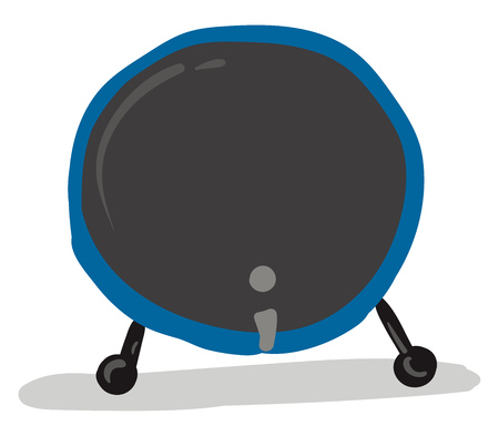 A blue bass drum with gray batter head and a gray shadow, vector, color drawing or illustration. Illustration