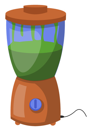 A Juicer Mixer with a jar on top a button to switch on the mixer vector color drawing or illustration. Çizim