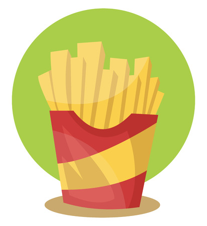 French fries in in yellow red pouch placed in green background vector color drawing or illustration. Illustration