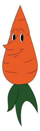 Sonriente zanahoria naranja con ilustración de vector de peciolo verde sobre fondo blanco.