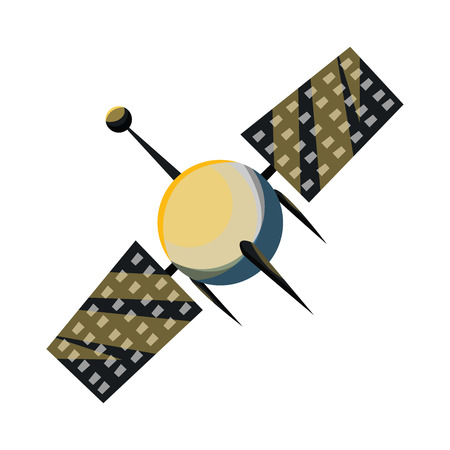Simple satellite vector illustration on white background Ilustração