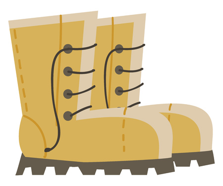 A yellow colored boots with black lacing, vector, color drawing or illustration.