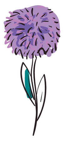 Simple purple flower vector illustration on white background. Illustration
