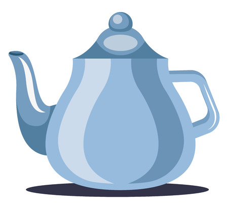 A Tea Pot in blue color to serve tea vector color drawing or illustration.