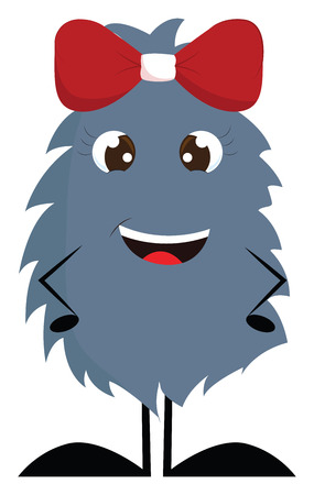 Dark grey furry smiling monster with red hair bow vector illustration on white background.