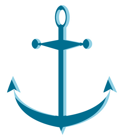 A teal colored anchor, vector, color drawing or illustration.