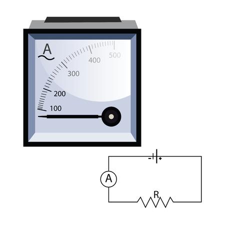 Minimalistic ammeter vector illustration on white background. Illusztráció