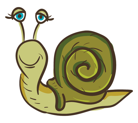 A green colored happy snail with blue eyes, cartoon, vector, color drawing or illustration. Çizim