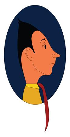 Caricature d'un homme avec une cravate rouge à l'intérieur de l'illustration vectorielle ellipse bleue sur fond blanc. Vecteurs