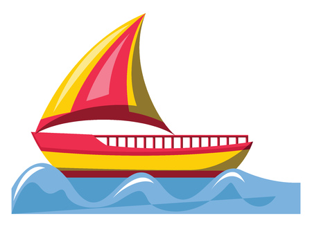 Red and yellow sailing ship vector illustration on white background.