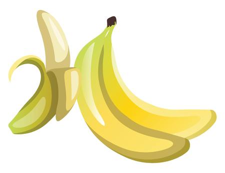 Yellow pealed bananas cartoon fruit vector illustration on white background.
