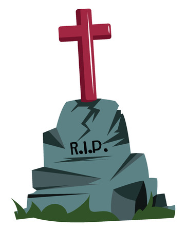 Gray grave stone with red cross on it vector illsutration on white background. Illustration