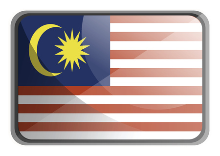 Vector illustration of Malaysia flag on white background.