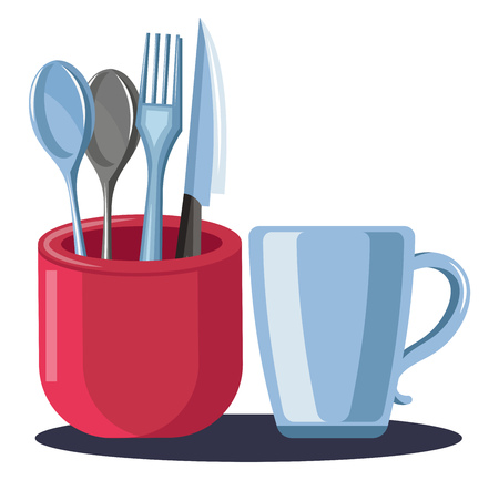 A Cutlery stand in red color with spoons fork and knife and a coffee cup beside to it vector color drawing or illustration.
