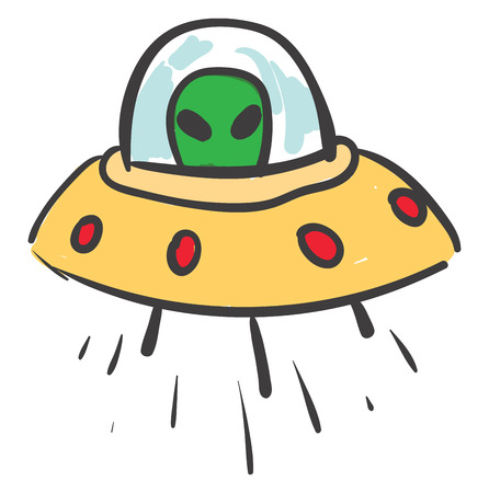 A ufo with red colored lights and green alien inside, vector, color drawing or illustration.