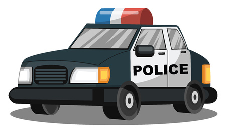 Deep blue and white police vehicle vector illustration on white background. Çizim