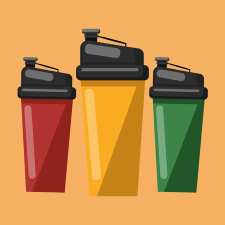 Three water sippers in red green and yellow colors to drink water or juice vector color drawing or illustration.